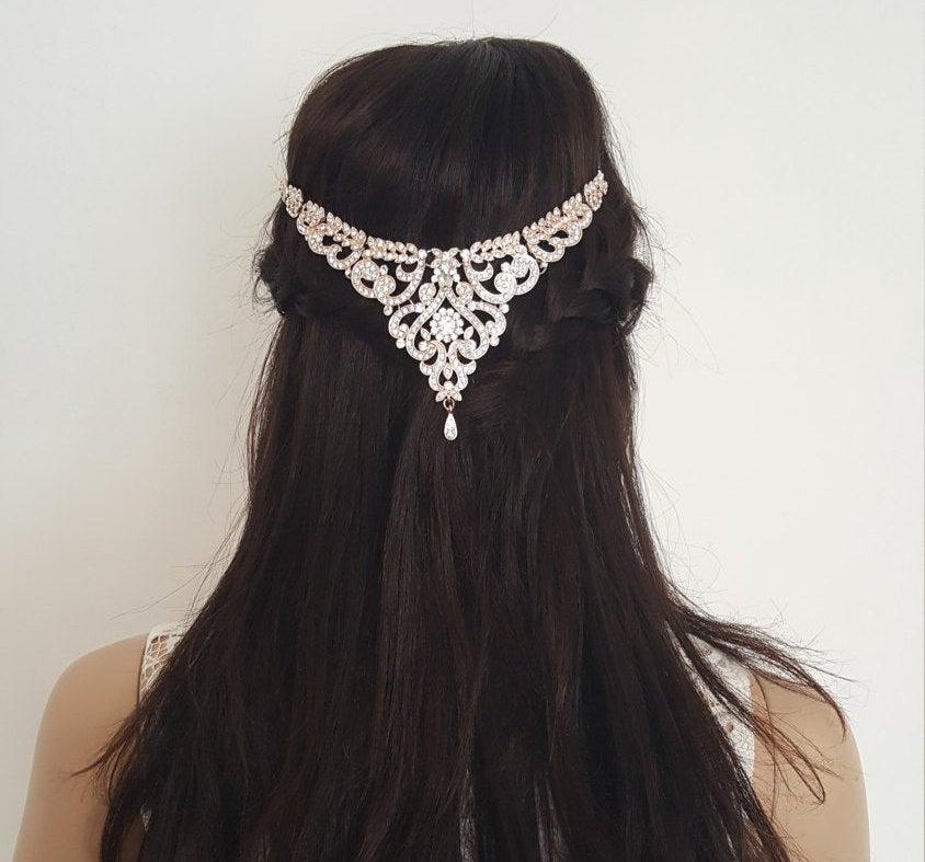 زفاف - Bridal Hair Accessories, Wedding Headpiece, Headchain, Bridal Hair Jewellery. Bohemian head chain, boho hair chain, art deco inspired piece