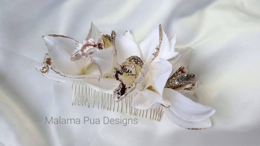 Mariage - BRIDAL HAIR COMB - Hair accessory, Wedding comb, Headpiece, Bridal, Hair piece, Flower fascinator, Tropical Flower, Bridal hair clip, Hawaii