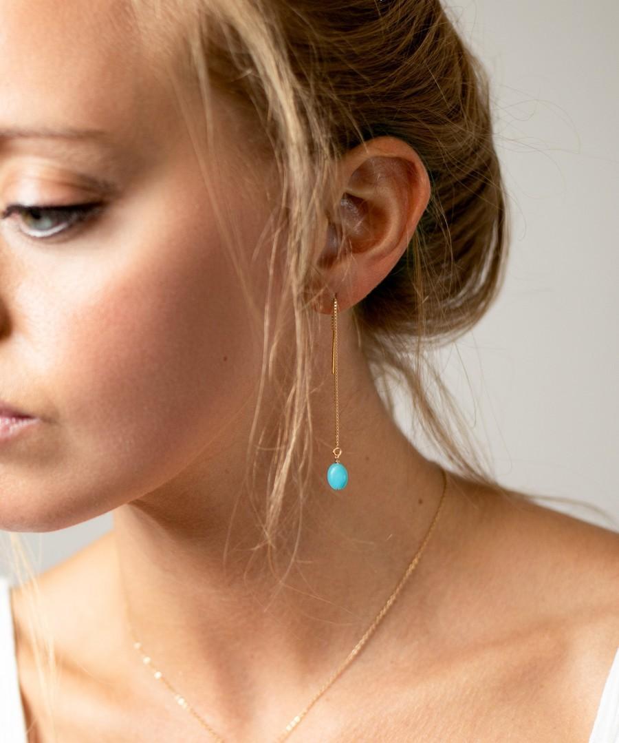 Свадьба - Long Turquoise Earrings - Modern Earrings in Gold Filled or Sterling silver - Minimal Jewelry