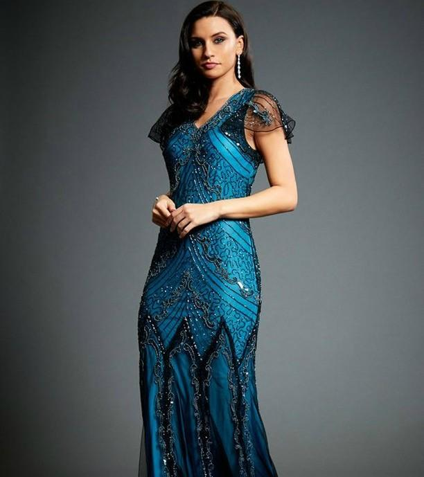 Wedding - Evelyn Blue Beaded 20s Great Gatsby Inspired Downton Abbey Blue Formal Wedding Maxi Dress Shop Our Online Store.