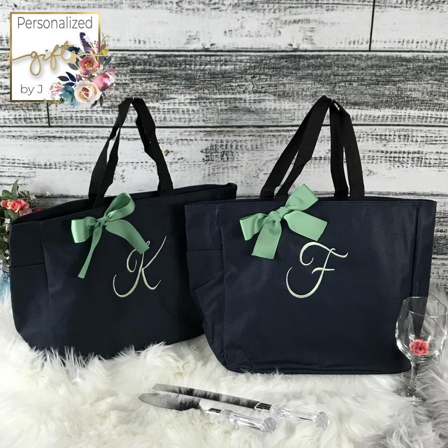 Mariage - Personalized Bridesmaid Gift Tote Bag- Wedding Party Gift- Bridal Party Gift- Initial Tote- Mother of the Bride Gift (ESS1)