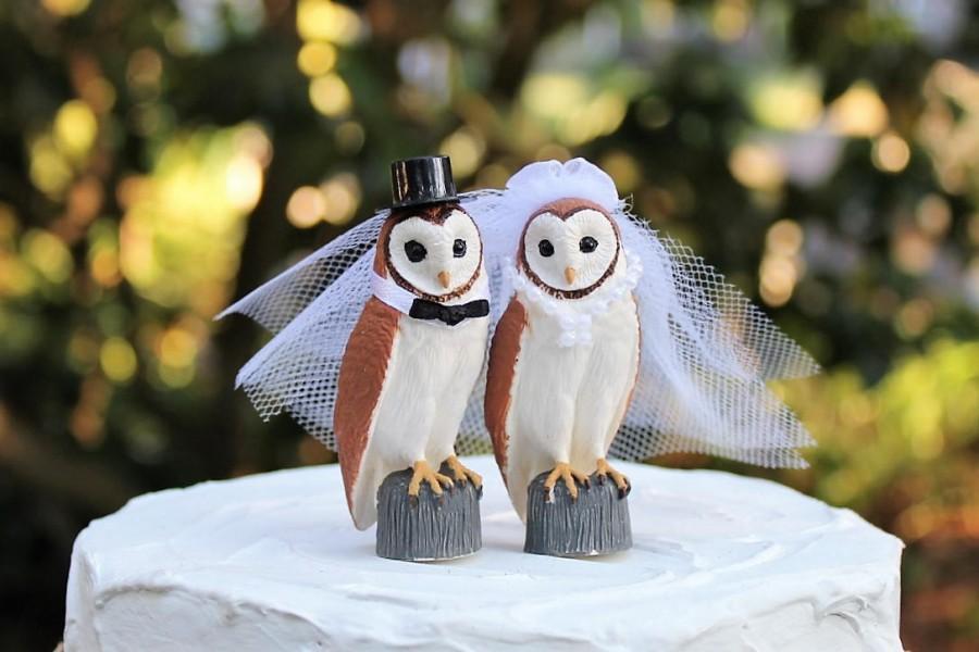 Свадьба - Owl Wedding Cake Topper, Bride and Groom, Barn Wedding, Bird Cake Topper, Rustic, Hoot Owls, Anniversary Cake Topper