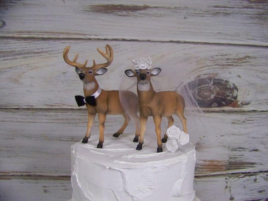 Hochzeit - Deer Wedding Cake Topper, Animal Cake Topper, Buck and Doe Cake Topper, Hunting Cake Topper, Wedding Cake, Wedding Decor,