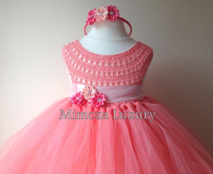 Свадьба - Coral Peach Flower girl dress, coral tutu dress, bridesmaid dress, coral princess dress, crochet top tulle dress, hand knit tutu dress