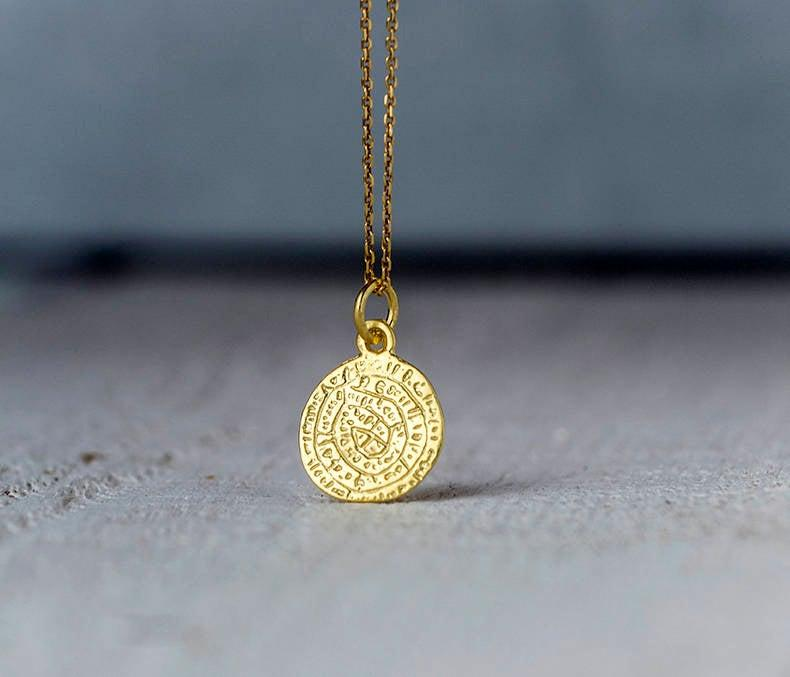 Wedding - Phaistos Disc Necklace in 14k solid Gold Ancient Greek Coin Gift for Her Layering Necklace Bridal necklace Dainty necklace