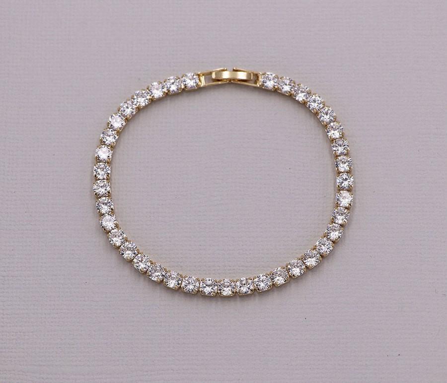 Mariage - Wedding bracelet, Gold wedding bracelet, cz bracelet, Bridesmaid Bracelet, bridal jewelry, Ella Gold Crystal Bracelet