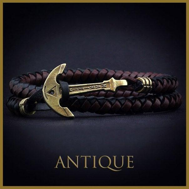 Mariage - Leather Anchor Bracelet. Valentines Day Gift for Boyfried. Black Brown Mens Leather Bracelet. Leather Nautical Wrap Bracelet. Gift For Him
