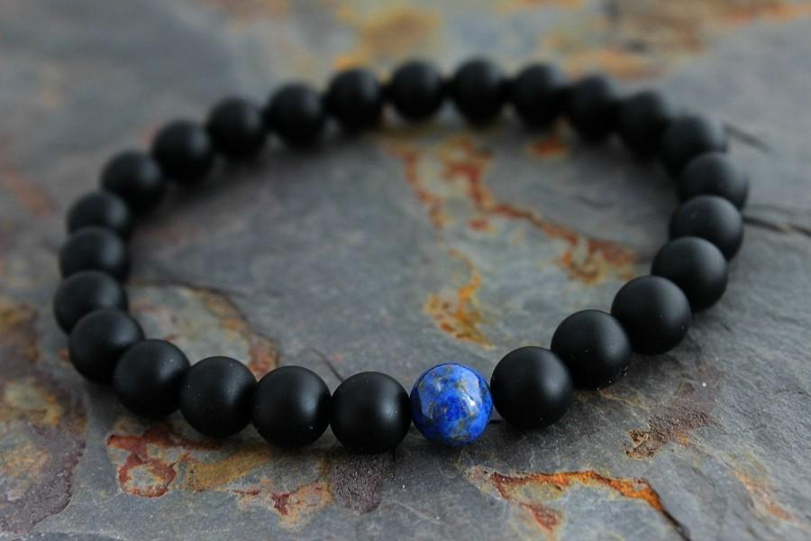 Mariage - Lapis & Onyx Bracelet for Boyfriend Birthday, Gift for Boyfriend, Anniversary Gift Ideas for Boyfriend Gift for Him, Bracelet for Man