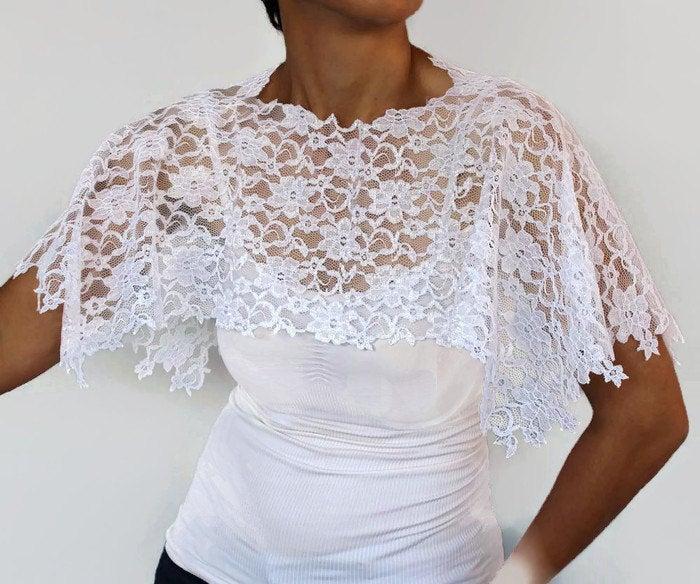 زفاف - White Lace Bridal Top Wrap, Shoulder Cover, Shabby Chic Wedding, Lace Capelet, Romantic Cape Shrug, Classic Bolero Unique Design
