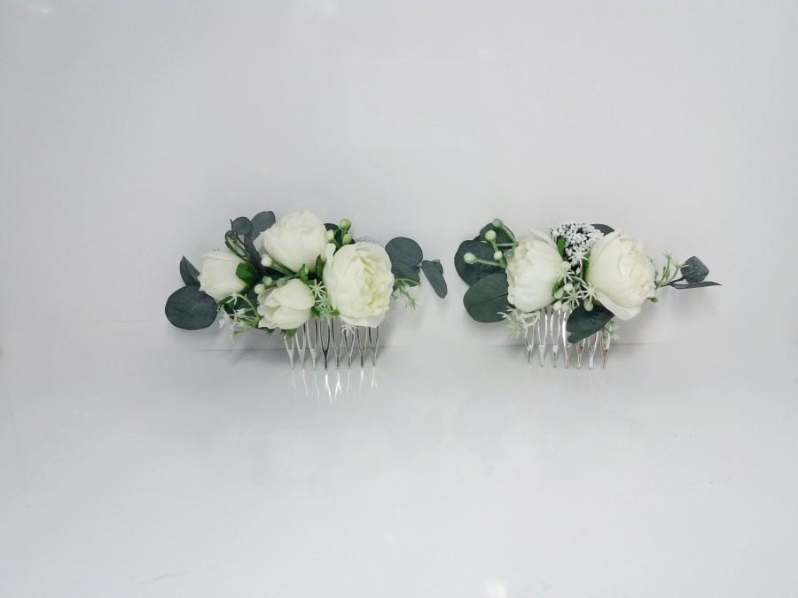 Wedding - Eucalyptus Ivory flower comb Bridal hair accessories,Wedding flower comb,Bridal flower comb,Floral headpiece,Flower girl,Wedding hair piece