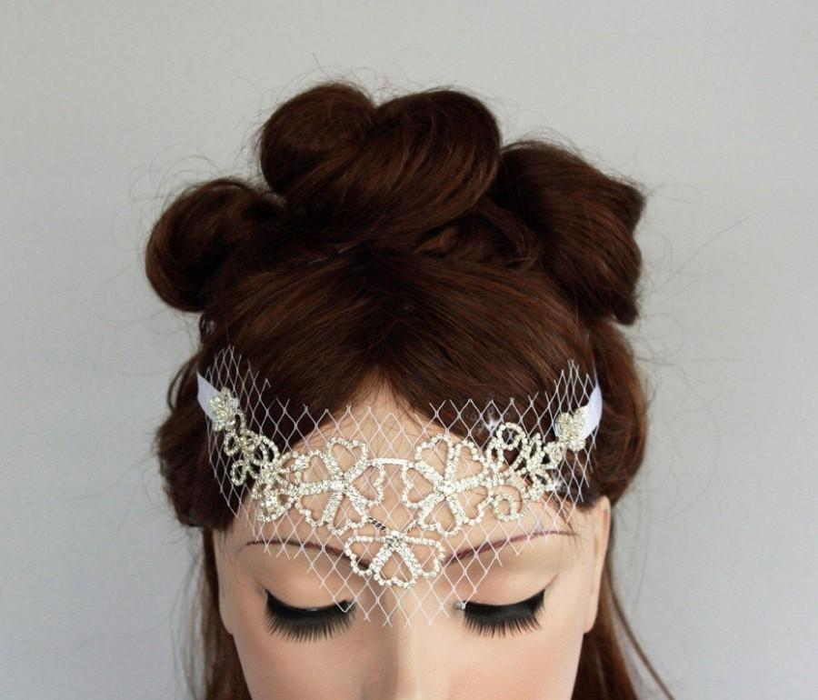 Свадьба - Bridal Queen Tiara, Rhinestone Flowers, French Bridcage Bandeau Veil, Wedding Headband, Handmade. Unique Design