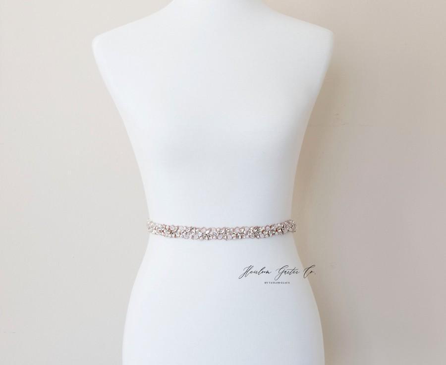 زفاف - Dainty Rose Gold Bridal Belt, Square Bridal Sash, Beaded Bridal Sash, Wedding Belt, Wedding Sash Rhinestone Sash B119RG