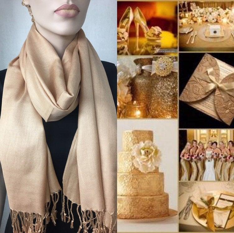 زفاف - Gold Pashmina Scarf Shawl / Personalized Initial Shawl / Bridesmaid Shawl / Wedding Favor / Bridal Wrap / Wedding Shawl / Gold Shawl
