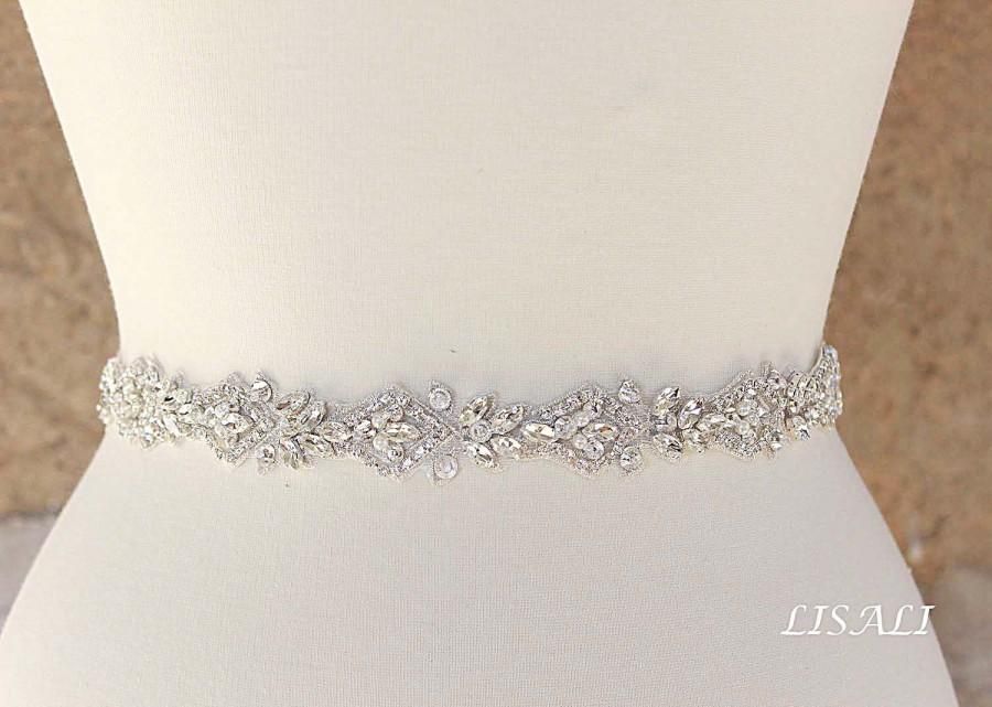 Hochzeit - LISALI Bridal Belt Sash, Rhinestone Belt, Wedding Dress Belt , Crystal Bridal Belt, Thin Wedding Belt, Bridal Belt, Bridal Belt Clasp