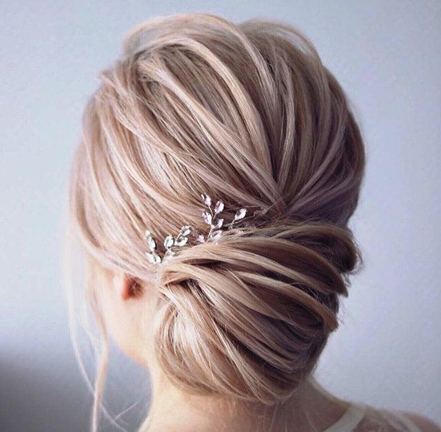 زفاف - Bridal hair pins Wedding Head piece silver Swarowski Crystal Bridal hair pins pearl Wedding hair pins Bridal hair piece Bridesmaid comb