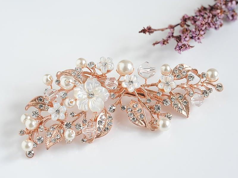 Wedding - Rose Gold Bridal Hair Accessories, Boho Wedding Hair Comb, Crystal Flower Leaf Hair Vine, Pearl Cluster Wedding Headpiece, Hair Clip, ANGELA