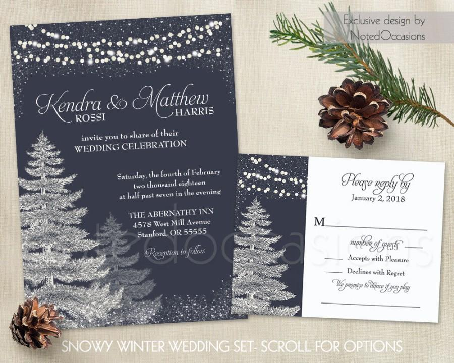 Mariage - Winter Wedding Invitation Template Set Rustic Christmas Printable Wedding Trees Navy Blue Wedding Snowflakes Wedding Stationery DIY Digital