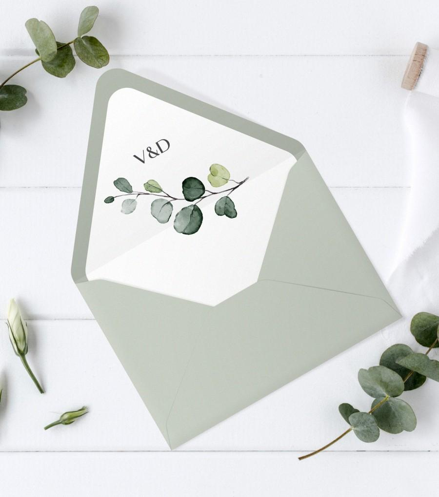 Mariage - Envelope Liner with Hand-Painted Watercolor Eucalyptus, A7, A7 Euro Flap, A7 Square Flap, AB17_01_012