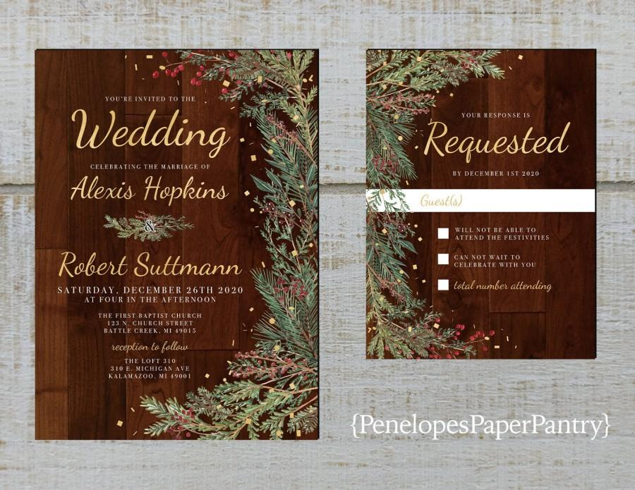 Wedding - Elegant Rustic Winter Wedding Invitation,Evergreen Branch,Red Berries,Barn Wood,Gold Print,Shimmery,Printed Invitation,Wedding Set,Envelopes