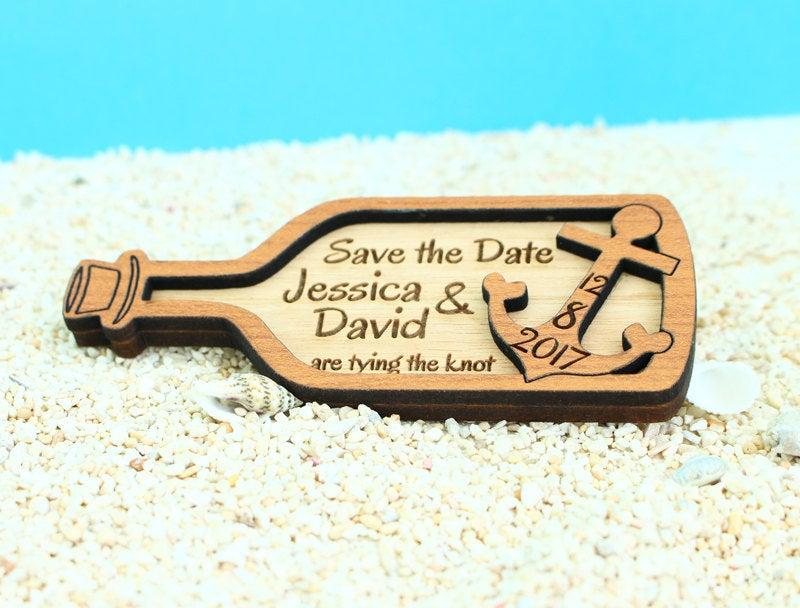 Mariage - Nautical Save The Date Magnet, Custom Wood Save The Date, Save the date, Wood Save The Date Magnet, Wood Wedding Save the Date, Anchor