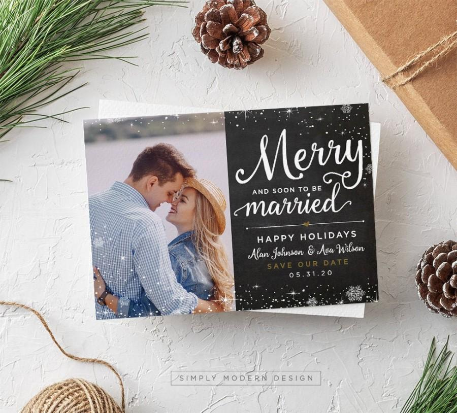 Mariage - save the date, christmas card, merry and married, married christmas, wedding christmas card, wedding invitation, PRINTABLE or PRINTED CARDS
