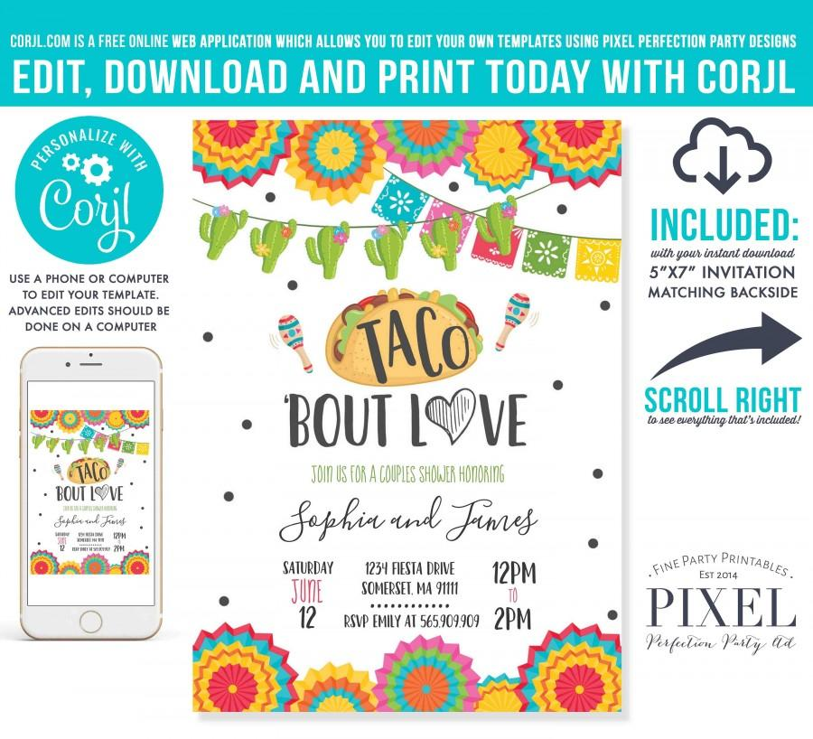 Hochzeit - Taco Bout Love Fiesta Couples Shower Invitation Taco Bout Love Engagement Party Mexican Engagement Fiesta Instant Download Editable PDF 09