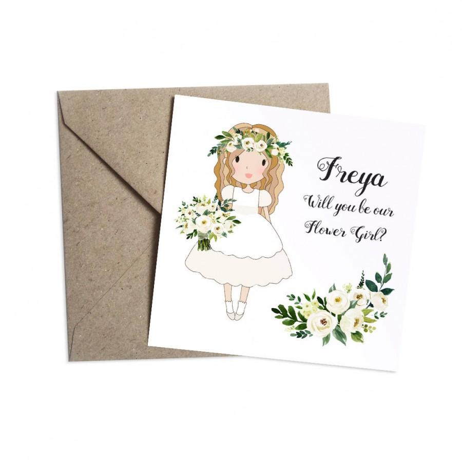 Mariage - Will You Be My Flower Girl Card - Personalised, White Floral Wedding, White Roses, Flower Girl, Bridesmaid, Page Boy, Usher, Ring Bearer