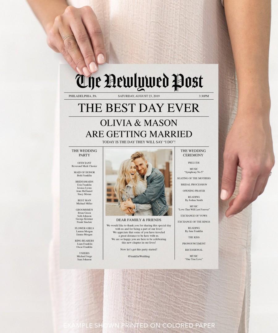 Hochzeit - Newspaper Wedding Program - Printable Wedding Programs - Wedding Program Template - Fun Wedding Programs - Decor - Editable - Newspaper