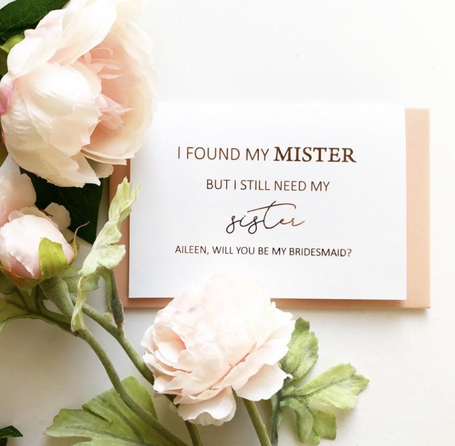 زفاف - Rose Gold Foil Will You Be My Bridesmaid proposal Card -  Maid of Honour Card - i found my mister but still need my sister