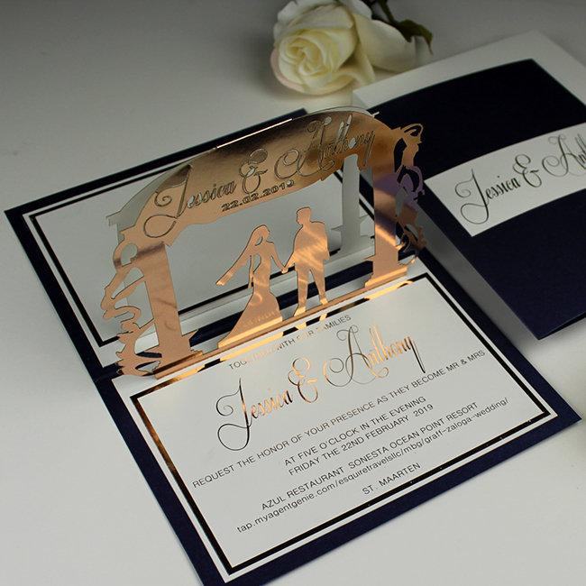 Свадьба - Rose Gold Wedding Invitations, Navy Blue Bride Groom Invitations, Personalized Pop Up Wedding Invitation, Letterpress Foil Unique Invitation