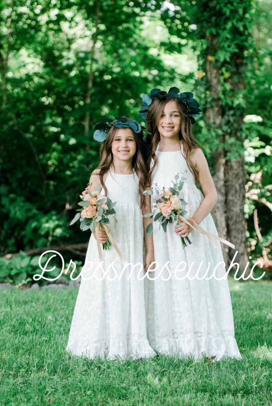 Wedding - 12T Halter flower girl, ivory girl lace dress, long lace gown, Bohemian dress, cowgirl, cowboy flower girl, beach wedding