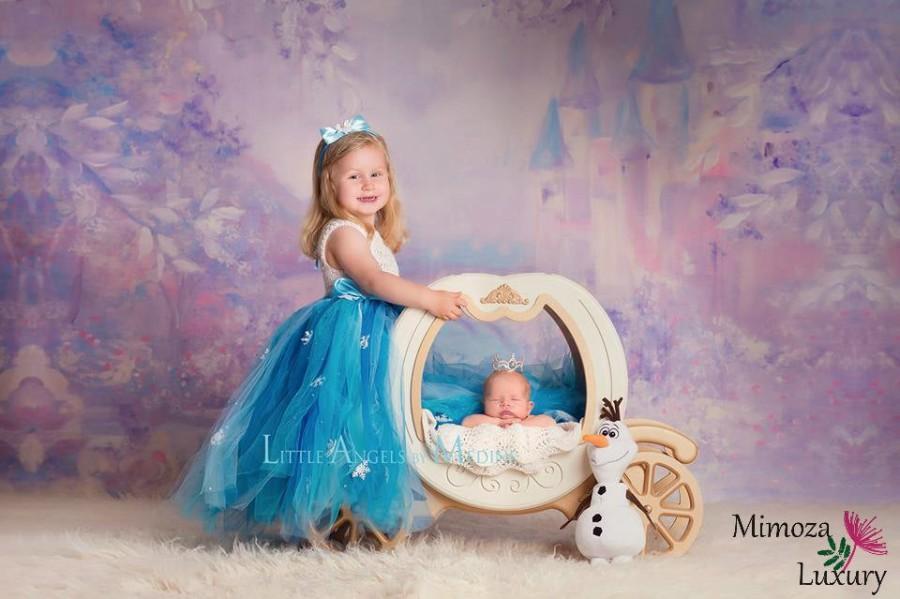 Wedding - Elsa Dress Princess Flower girl dress, Christmas tutu dress, sky blue bridesmaid dress, Elsa Frozen princess dress, crochet top tulle dress