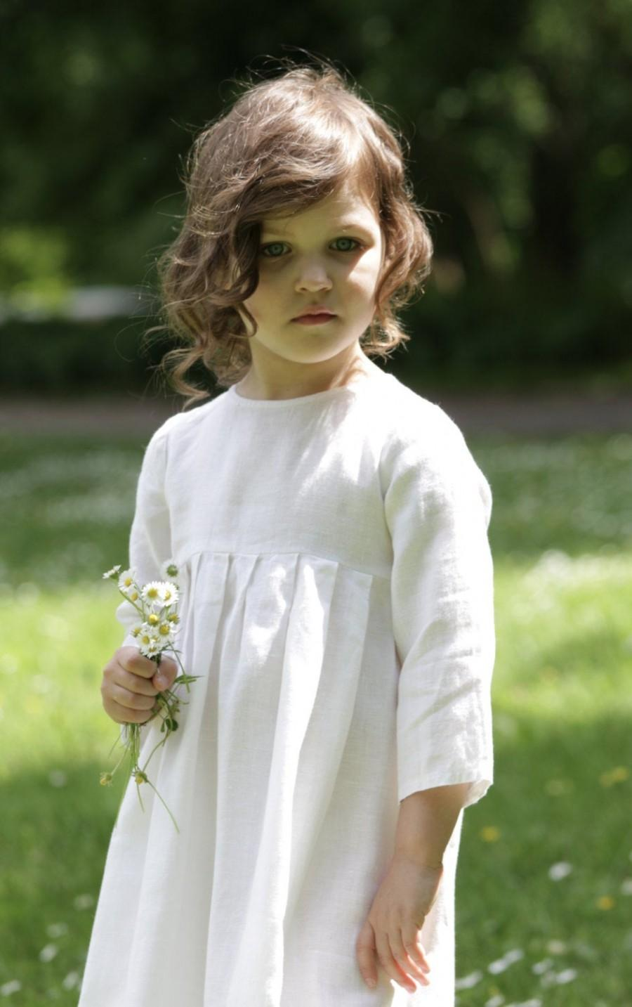 Wedding - LINEN GIRLS' DRESS Flower Girl Dresses  Baby Girls' Clothing Weddings Dresses.   100% natural linen fabric rustic girl's dress