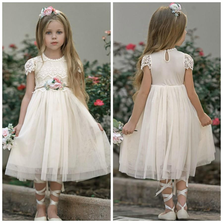 Wedding - Ivory flower girl dress, Ivory Lace flower girl dress, Tulle Flower Girl Dress, Rustic Flower Girl Dresses, Boho Flower Girl, Birthady Dress