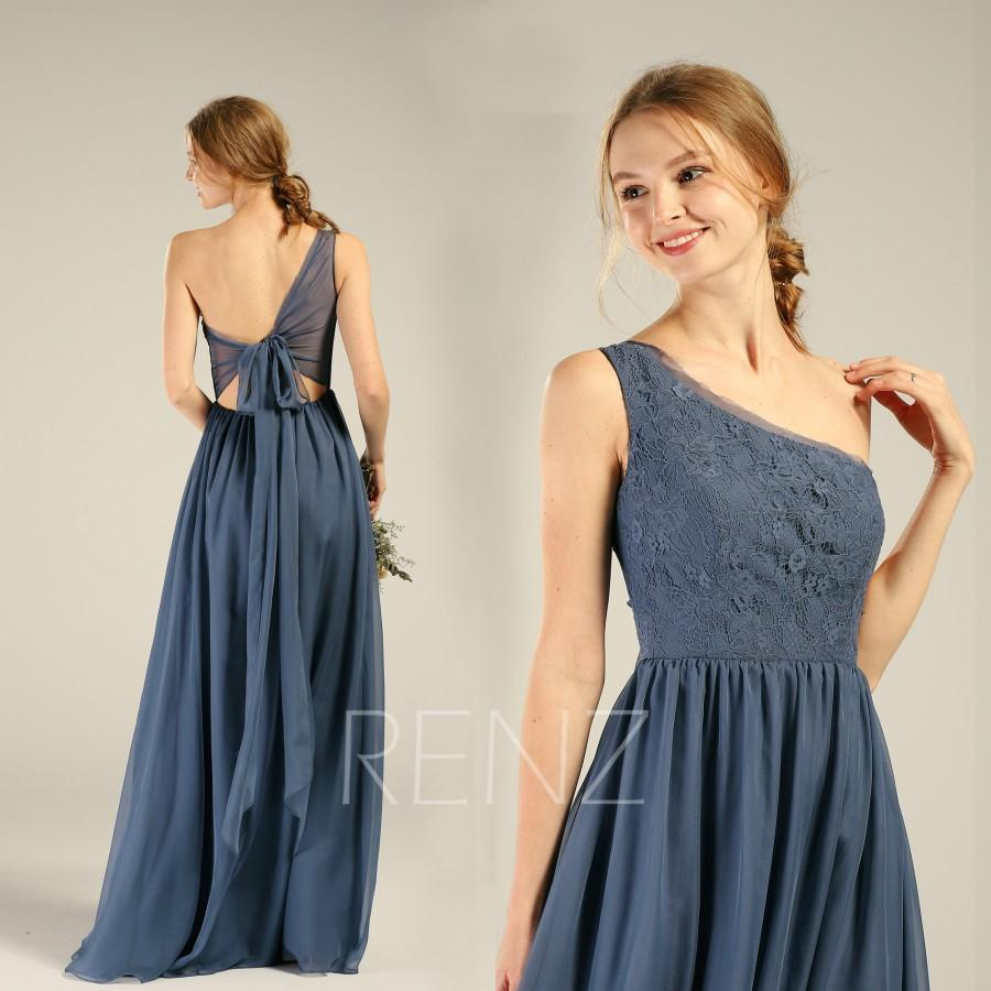 Wedding - Steel Blue Bridesmaid Dress Chiffon Long Formal Dress Women One Shoulder Lace Open Back Evening Dress (H740)