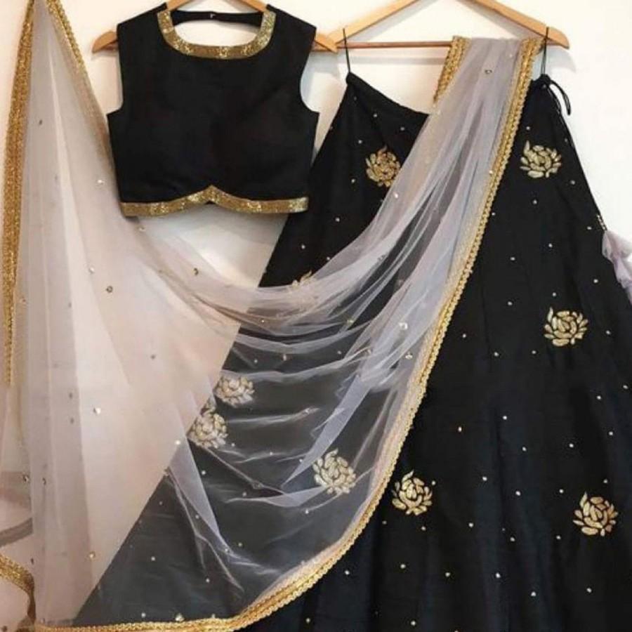 زفاف - Indian Stunning Black Colored Partywear Embroidered Tapeta Silk Lehenga Choli, Festival,Ceremonial, Bollywood Lehenga, Lengha choli, Wedding