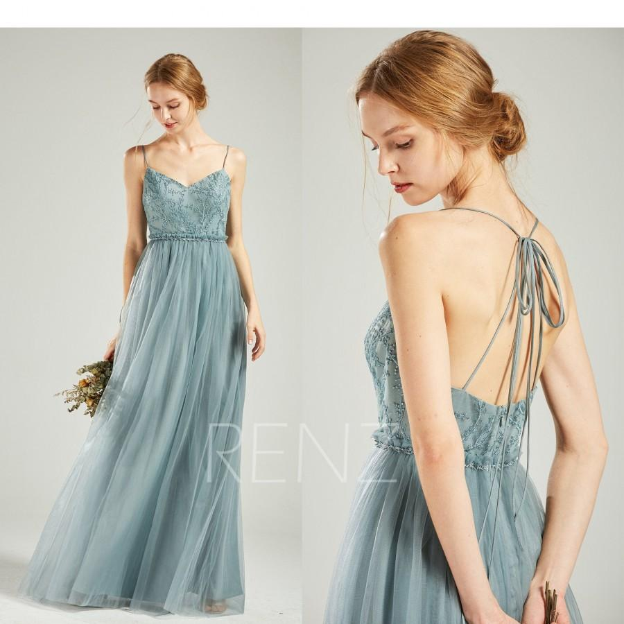 Wedding - Bridesmaid Dress Dusty Blue Tulle Long Formal Dress Women Beaded Sweetheart Convertible Straps A-line Prom Dress (HS718)