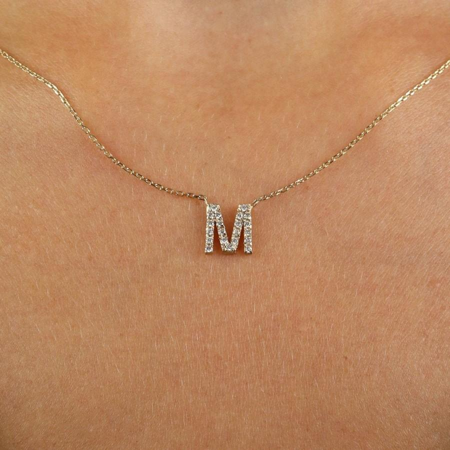 Mariage - Letter Diamond Necklace / Diamond Initial Necklace in 14k Solid Gold / Labor Day Sale