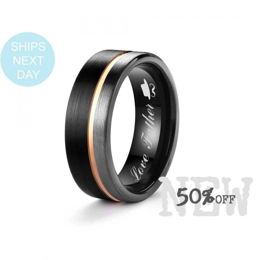 Wedding - 8mm Black Tungsten Carbide Ring Grey&Black Satin Finish with Rose Gold Inlay, Free Personalized Engrave Supported, Gift Wrapped