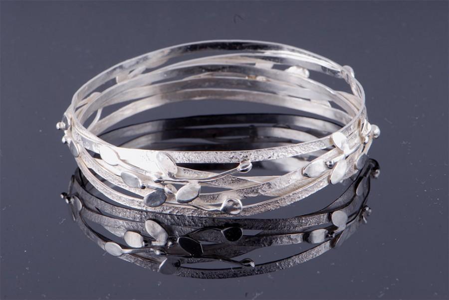 Wedding - Statement Bangle Bracelet.  Holy land Olives Spring Bracelet. One of A Kind Bangle Bracelet. Ready To Ship