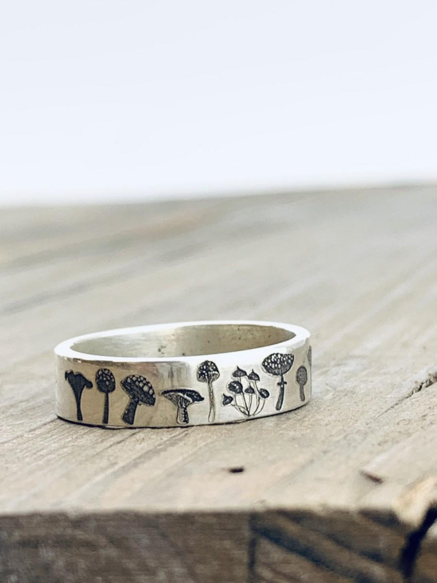 Wedding - Personalized Silver Ring - Mushroom Ring - Wedding Band - Forest Jewelry - Engraved Ring - Stocking Stuffer - Nature