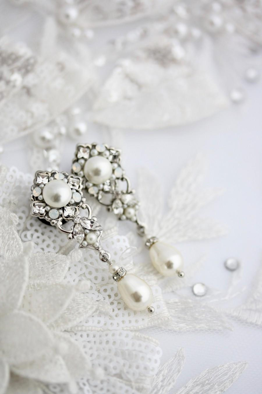 Wedding - Plug Earrings for Wedding Bridal Gauge Rose Custom Size Crystal and Pearl Jewelry Art Deco Dangle Earrings SWEENY