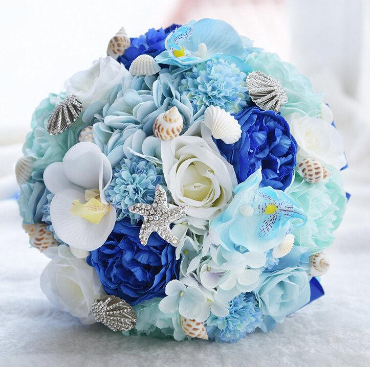 Свадьба - Romantic Starfish Seashell Bridal Bouquet Sea Blue Silk Roses Wedding Flowers Hydrangea Garden Beach Themed Wedding Holding Tossing Flower