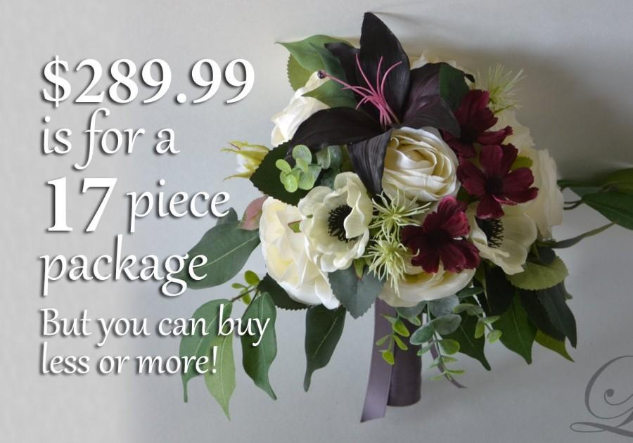 زفاف - Wedding Bouquet, Bridal Bouquet, Bridesmaid Bouquet, Silk Flower Bouquet, Wedding Flower, eggplant, burgundy, plum, ivory, Lily of Angeles