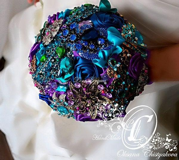 زفاف - Peacock Wedding Brooch Bouquet Gift Flowers Bridal Bouquet Jewelry Girl Rose Bouquet for Dress Turquoise Blue Purple Bouquet Summer Wedding