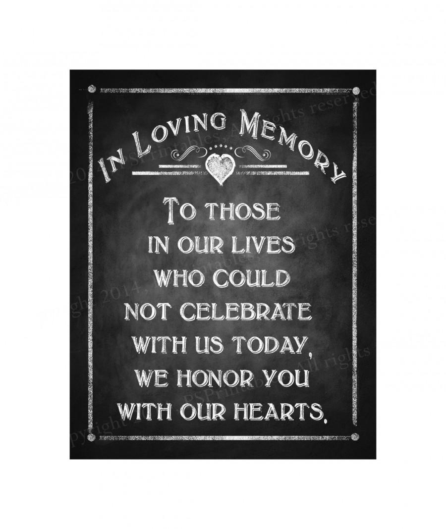 Свадьба - In Loving Memory chalkboard style sign for your wedding - instant download digital file - Rustic Collection