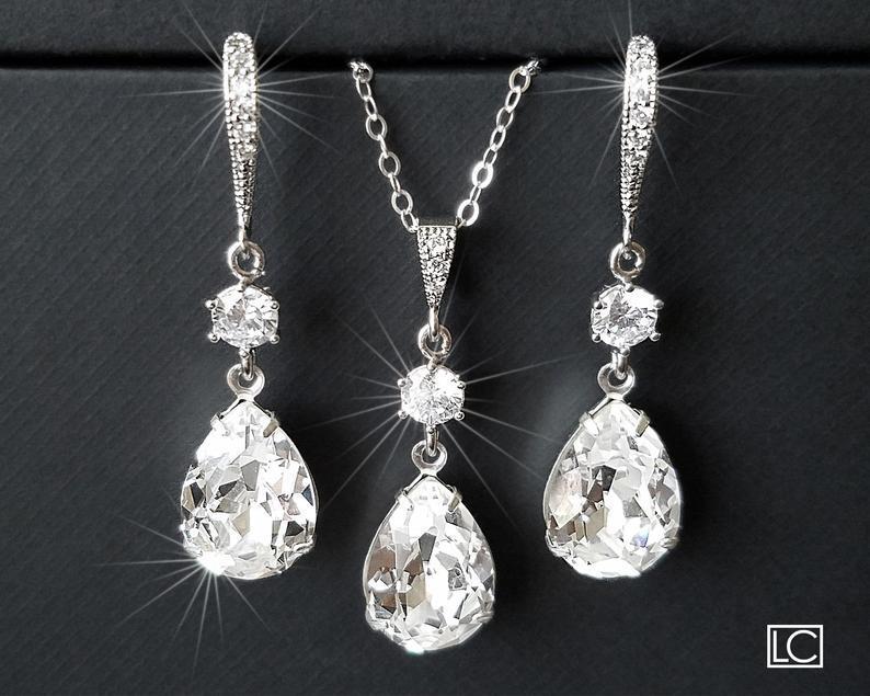 Wedding - Crystal Bridal Jewelry Set, Swarovski Crystal Earring&Necklace Set, Clear Rhinestone Silver Jewelry Wedding Set, Bridesmaids Bridal Jewelry