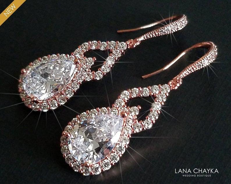 Wedding - Rose Gold Bridal Earrings, Teardrop Crystal Earrings, Wedding Pink Gold Earrings, Cubic Zirconia Dangle Chandelier Earrings, Bridal Jewelry