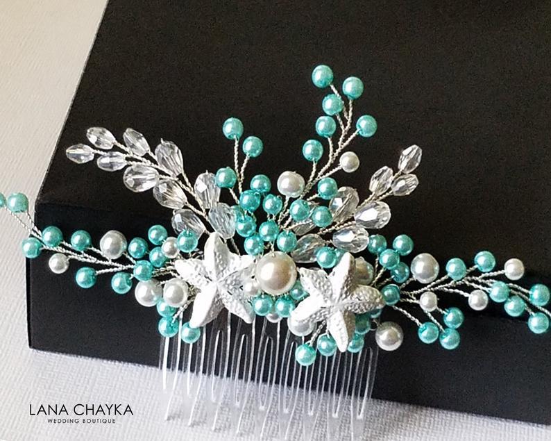 Wedding - Mint Pearl Sea Star Hair Comb, Turquoise Starfish Hair Piece, Aqua Mint Nautical Hair Jewelry, Beach Wedding Headpiece Mint White Pearl Comb