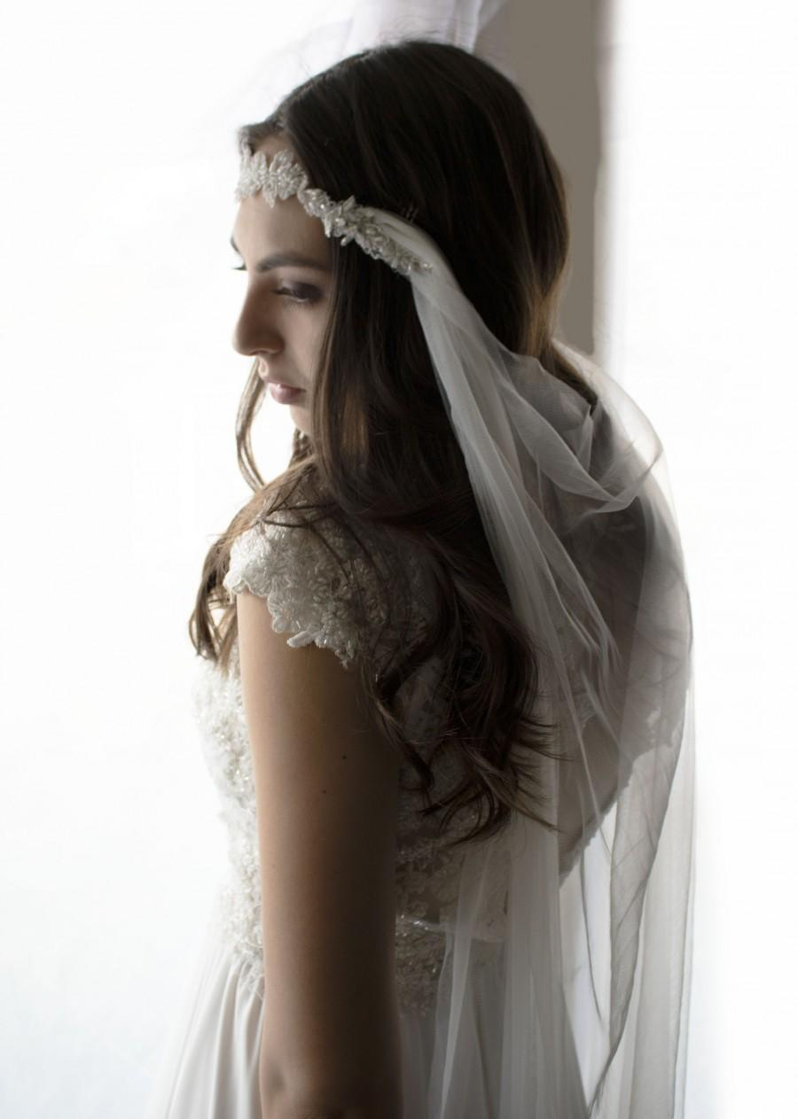 Mariage - Wedding veil, draped veil, drape veil, Ivory veil, fingertip veil, beach veil, bridal veil, wedding veil and headpiece, wedding clips,
